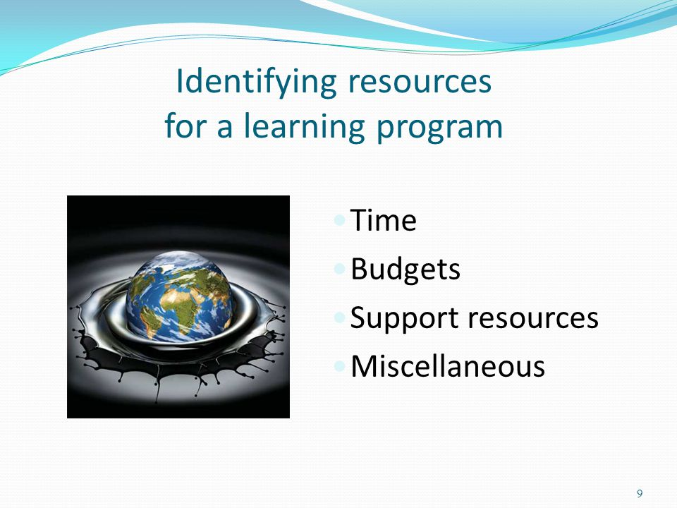 Identifying resources for a learning program