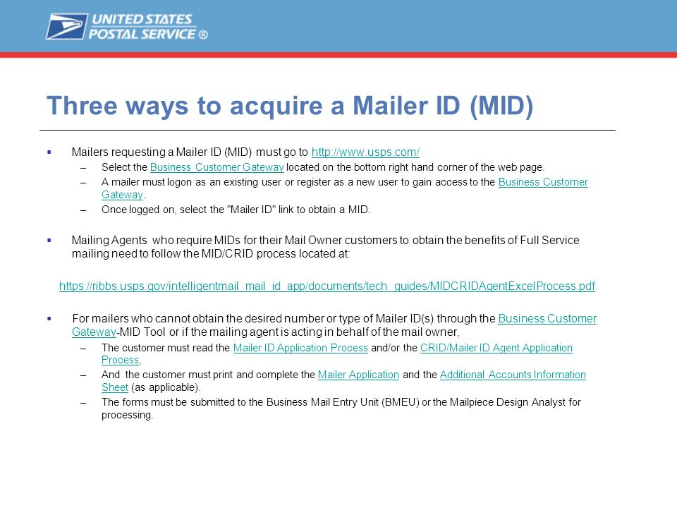 Three ways to acquire a Mailer ID (MID)