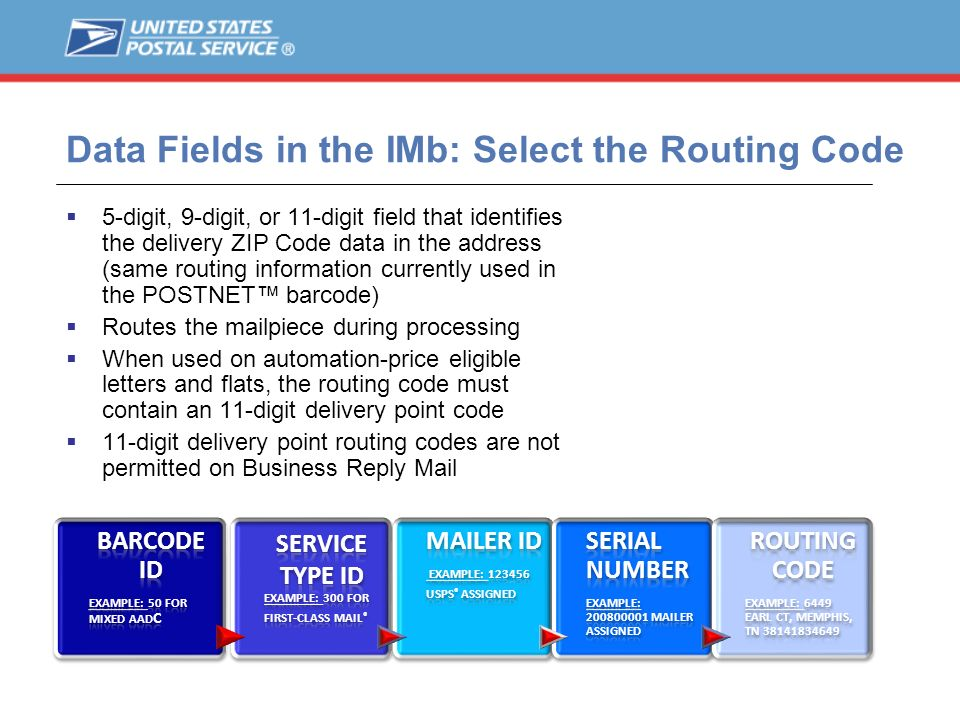 Data Fields in the IMb: Select the Routing Code