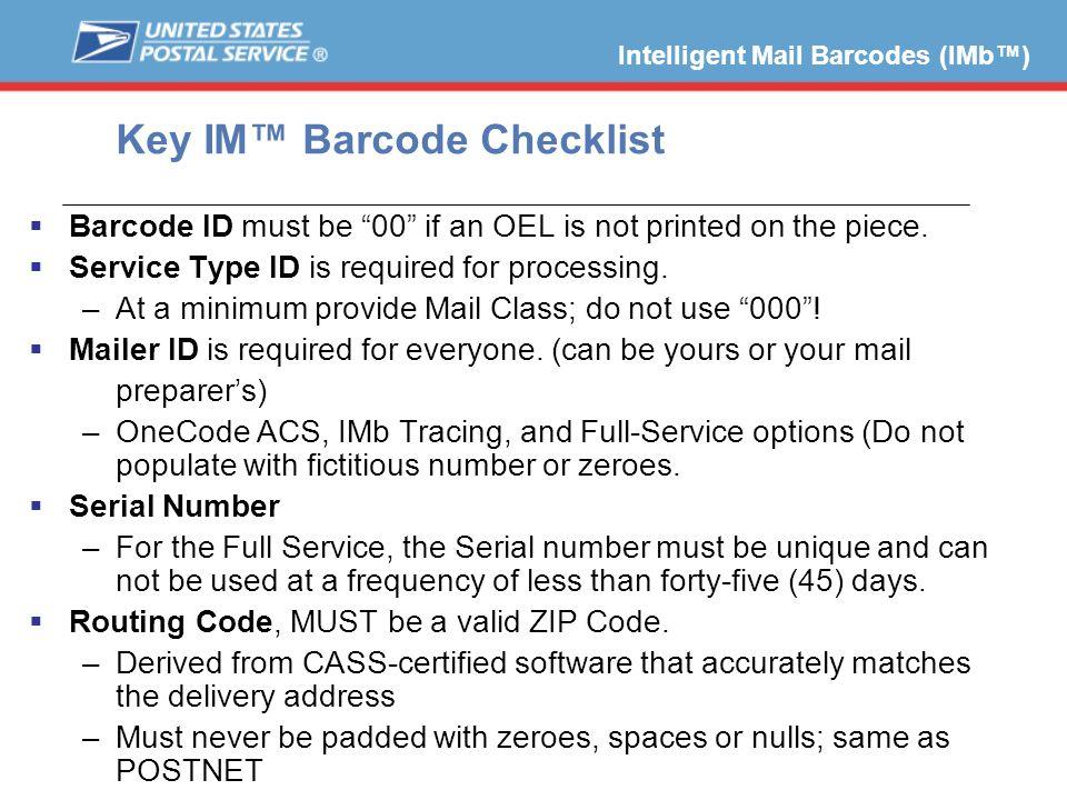 Key IM™ Barcode Checklist