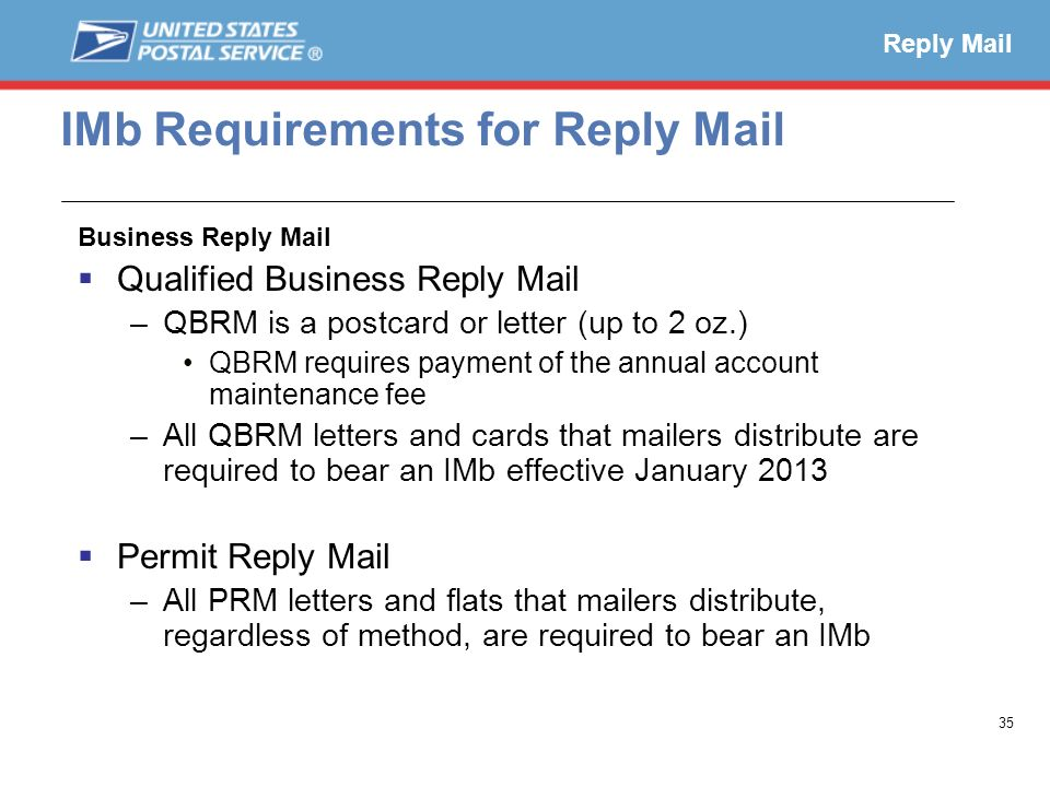 IMb Requirements for Reply Mail