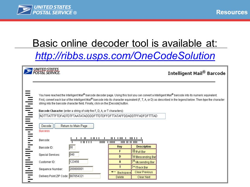 Resources Basic online decoder tool is available at: http://ribbs.usps.com/OneCodeSolution. Online tools include a very basic encoder and decoder.