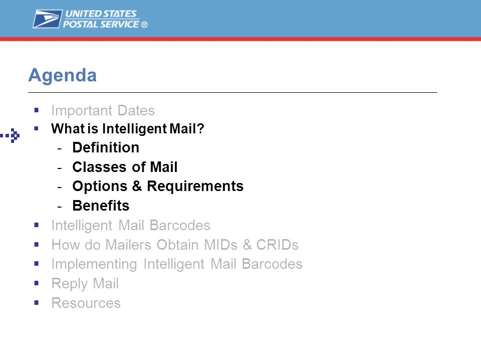 Agenda Important Dates Definition Classes of Mail