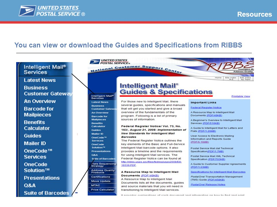 You can view or download the Guides and Specifications from RIBBS