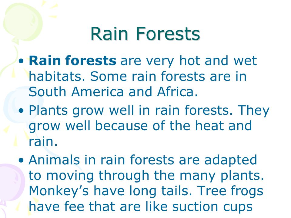Rain Forests Rain forests are very hot and wet habitats. Some rain forests are in South America and Africa.