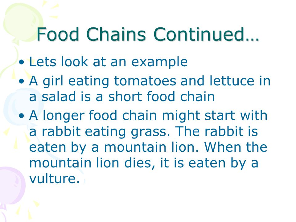 Food Chains Continued…