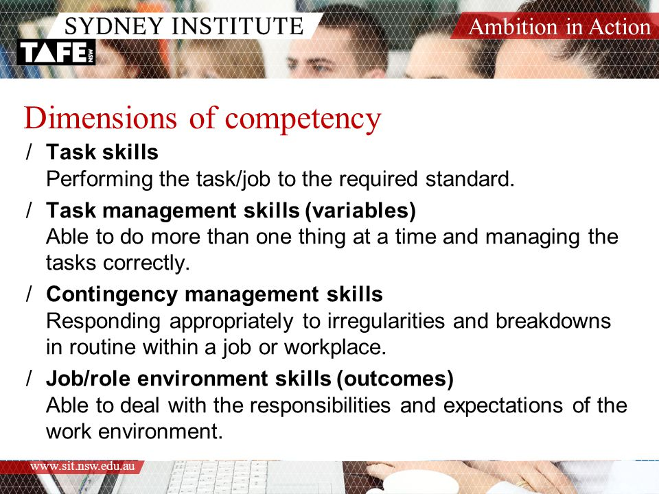 Dimensions of competency