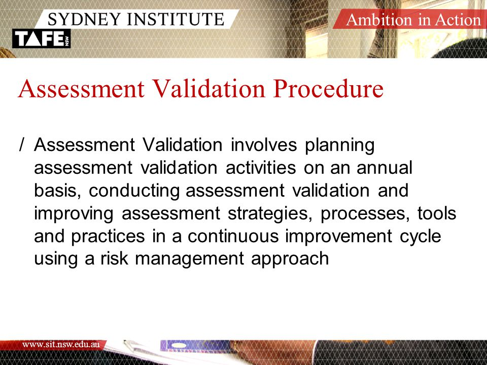 Assessment Validation Procedure