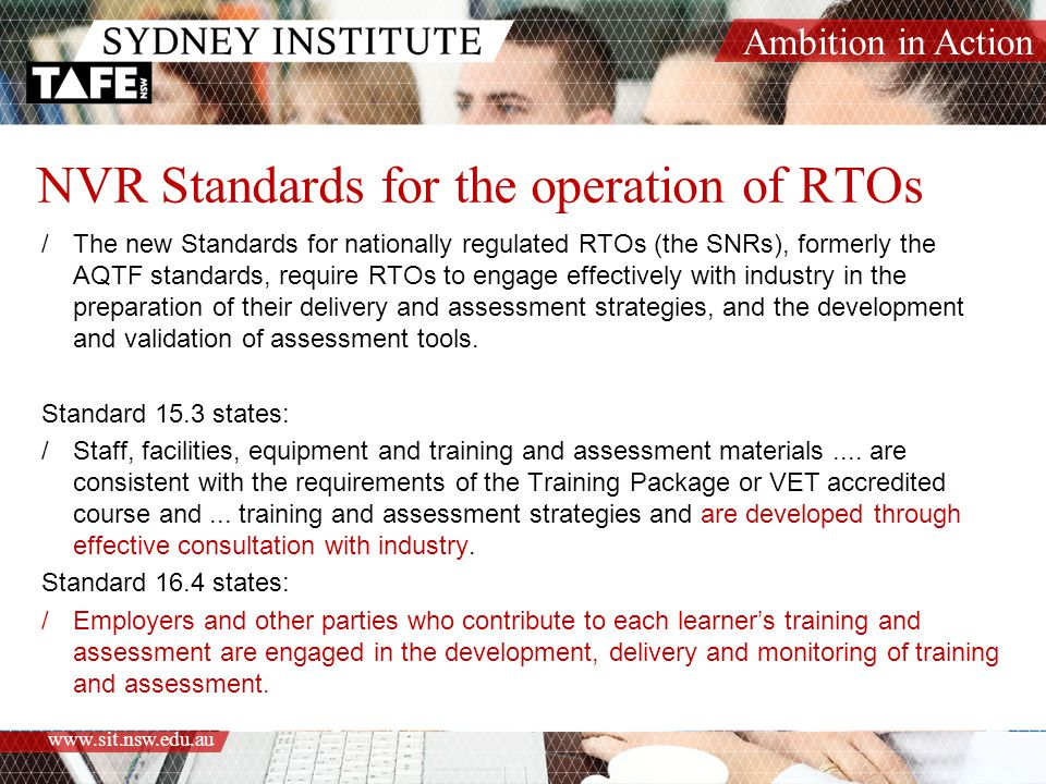NVR Standards for the operation of RTOs