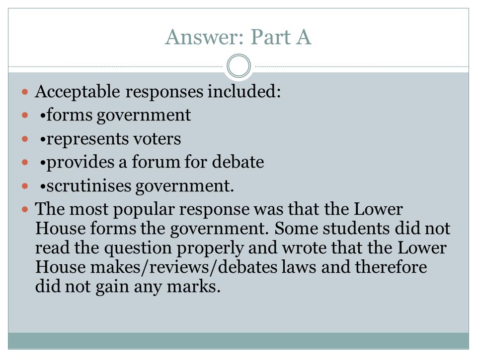 Answer: Part A Acceptable responses included: •forms government