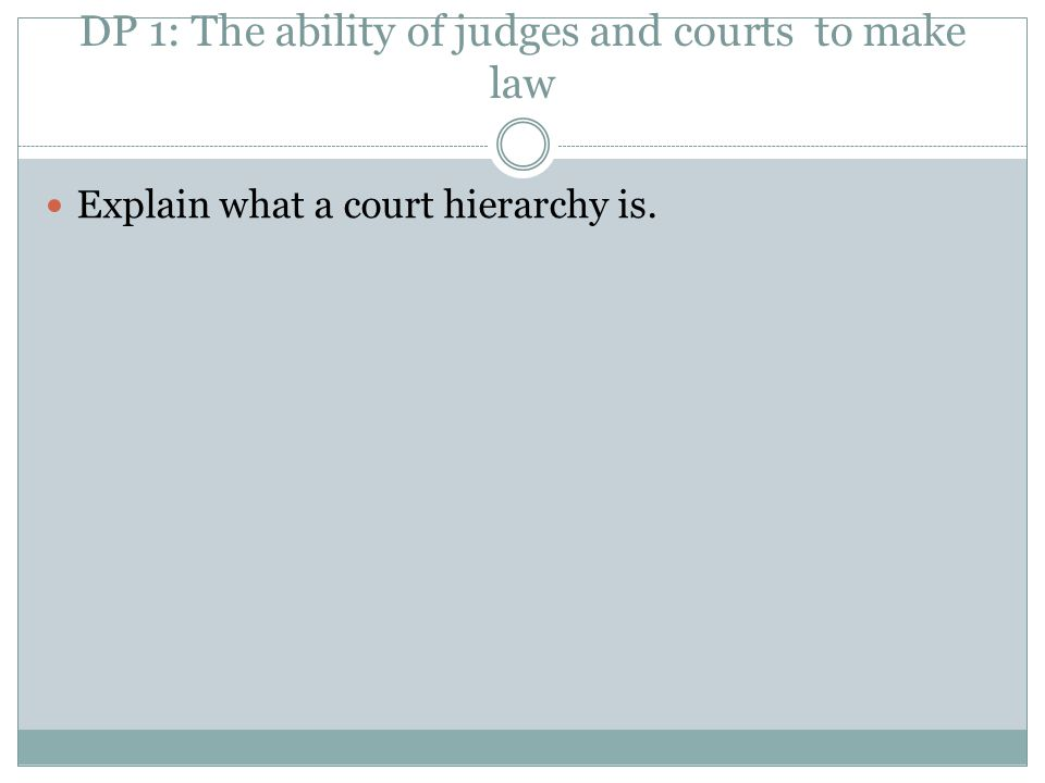 DP 1: The ability of judges and courts to make law