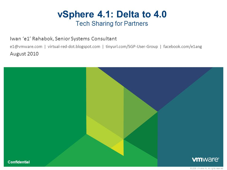 vSphere 4.1: Delta to 4.0 Tech Sharing for Partners