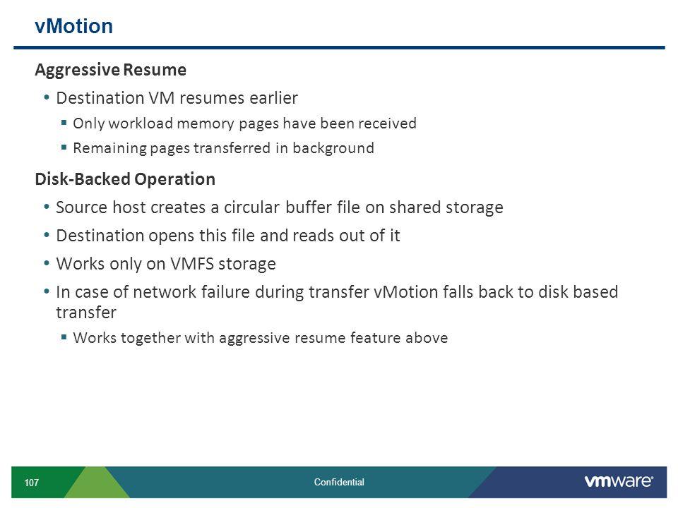 vMotion Aggressive Resume Destination VM resumes earlier