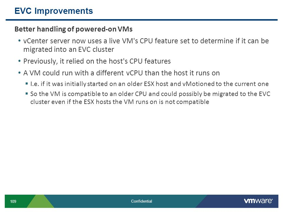 EVC Improvements Better handling of powered-on VMs