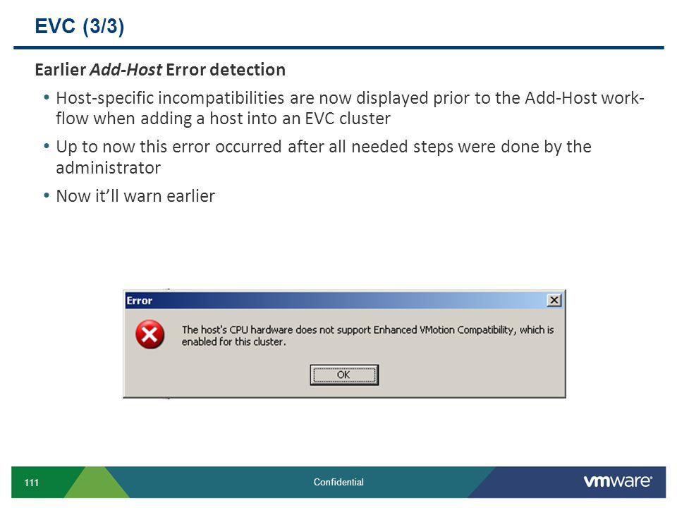 EVC (3/3) Earlier Add-Host Error detection