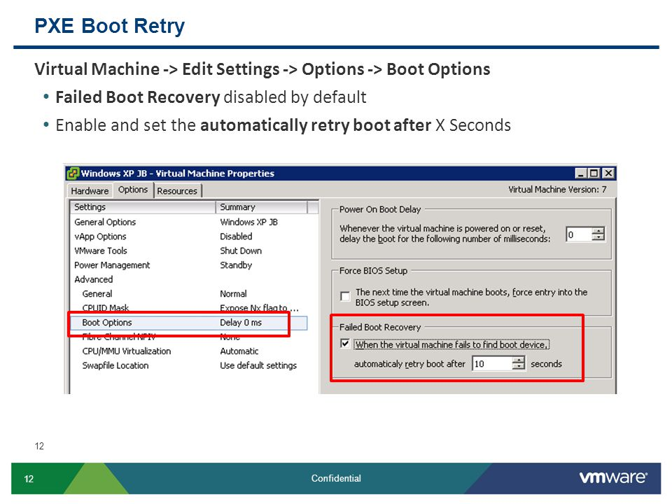 PXE Boot Retry Virtual Machine -> Edit Settings -> Options -> Boot Options. Failed Boot Recovery disabled by default.