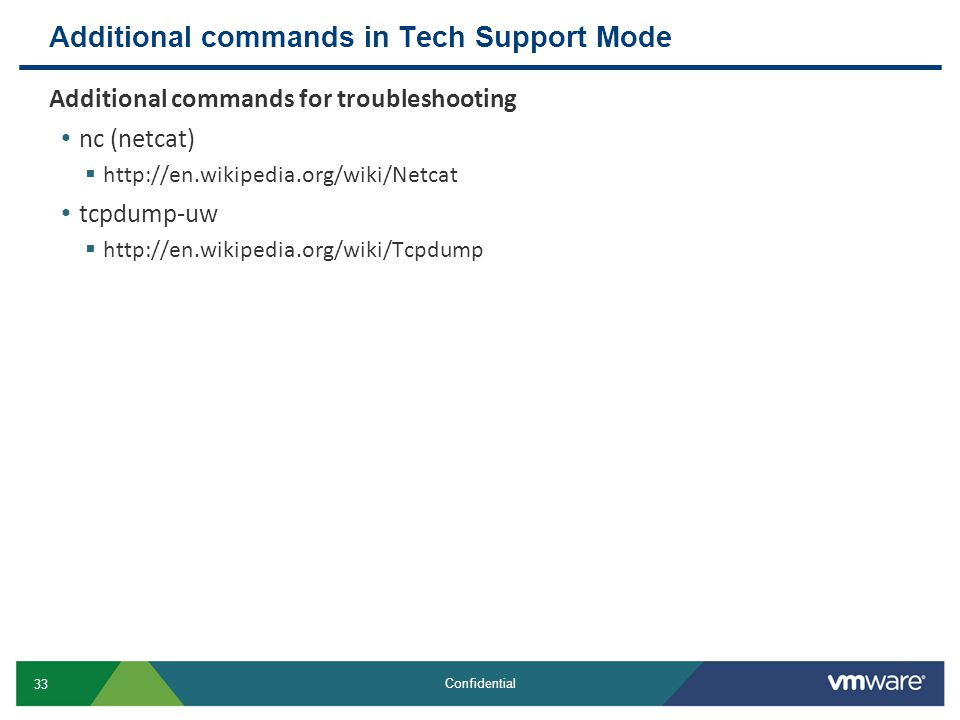 Additional commands in Tech Support Mode