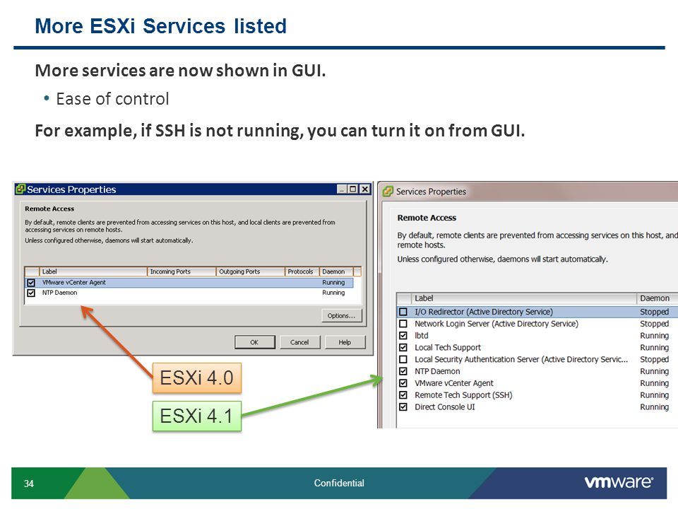 More ESXi Services listed