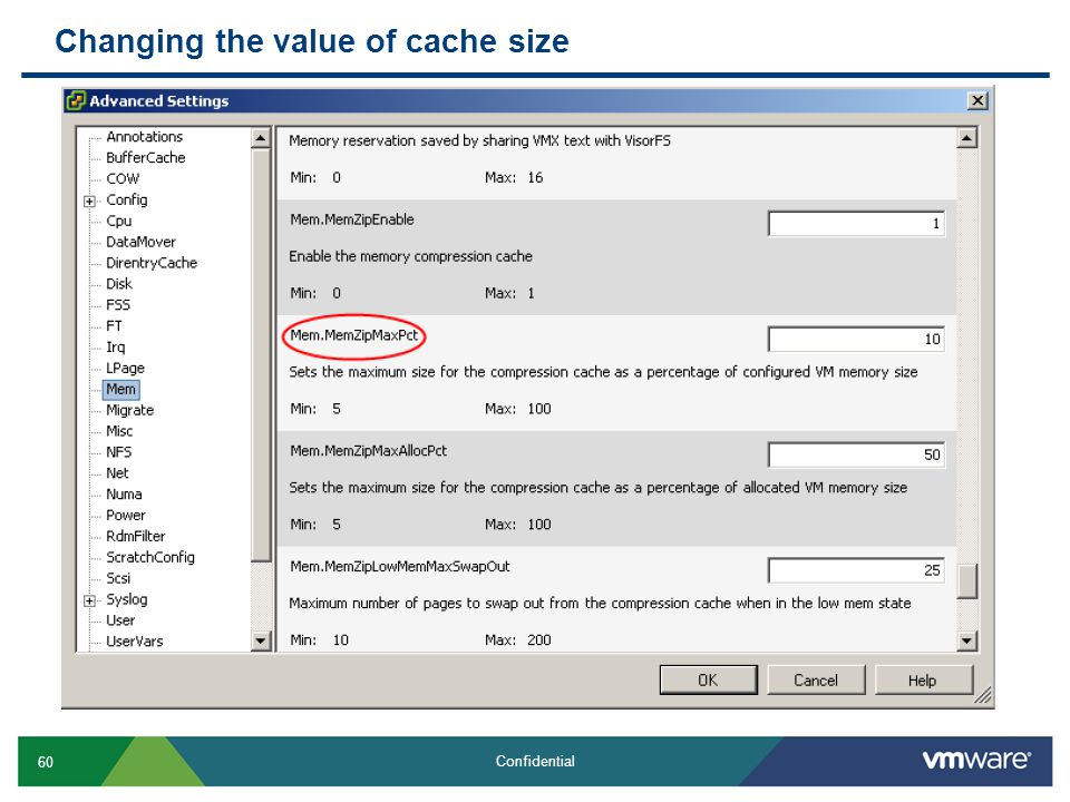Changing the value of cache size