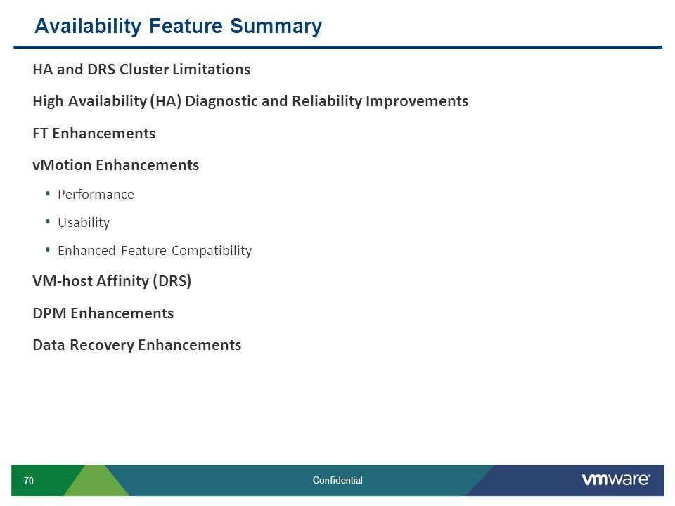 Availability Feature Summary
