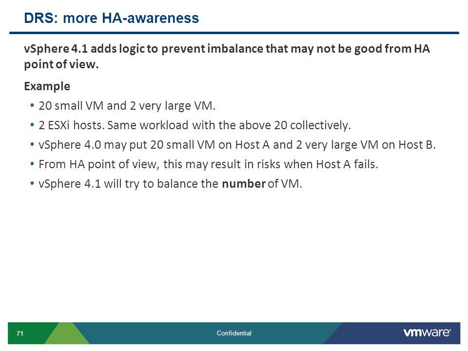 DRS: more HA-awareness