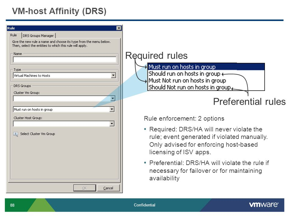 Required rules Preferential rules VM-host Affinity (DRS)