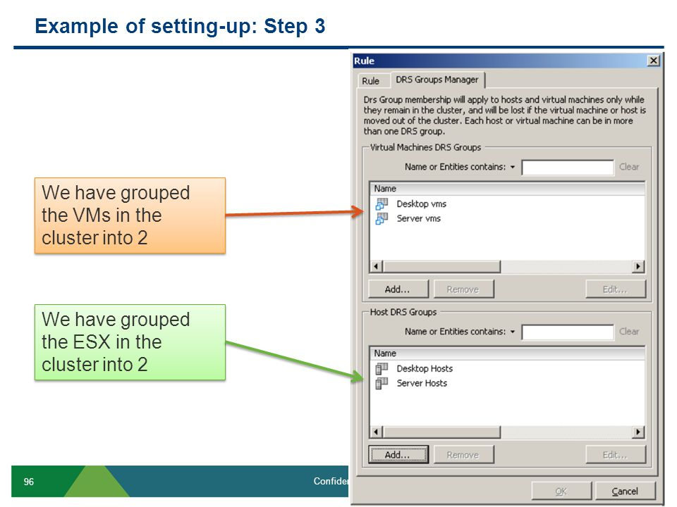 Example of setting-up: Step 3