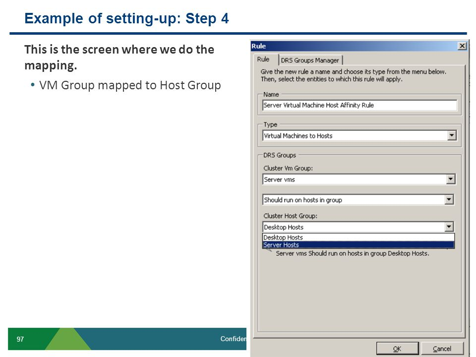 Example of setting-up: Step 4