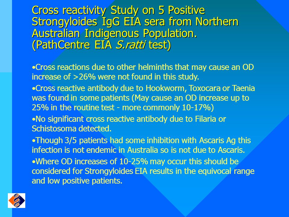 Cross reactivity Study on 5 Positive Strongyloides IgG EIA sera from Northern Australian Indigenous Population. (PathCentre EIA S.ratti test)