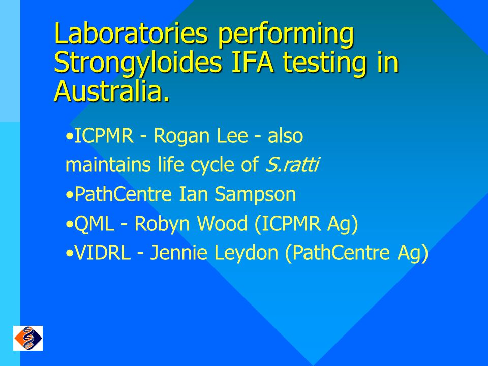 Laboratories performing Strongyloides IFA testing in Australia.