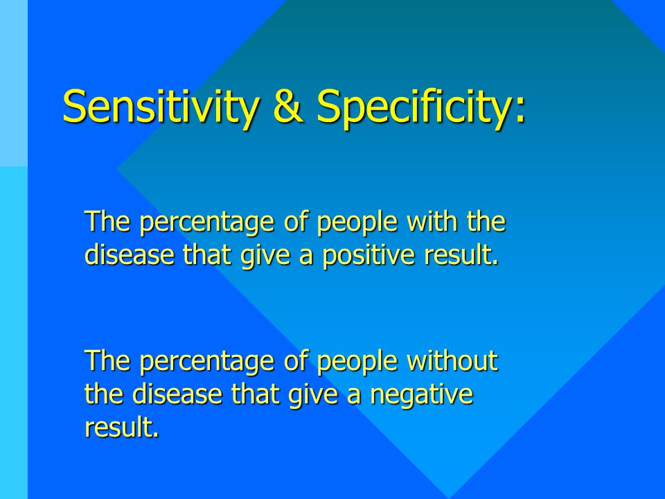 Sensitivity & Specificity: