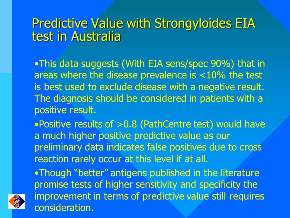Predictive Value with Strongyloides EIA test in Australia