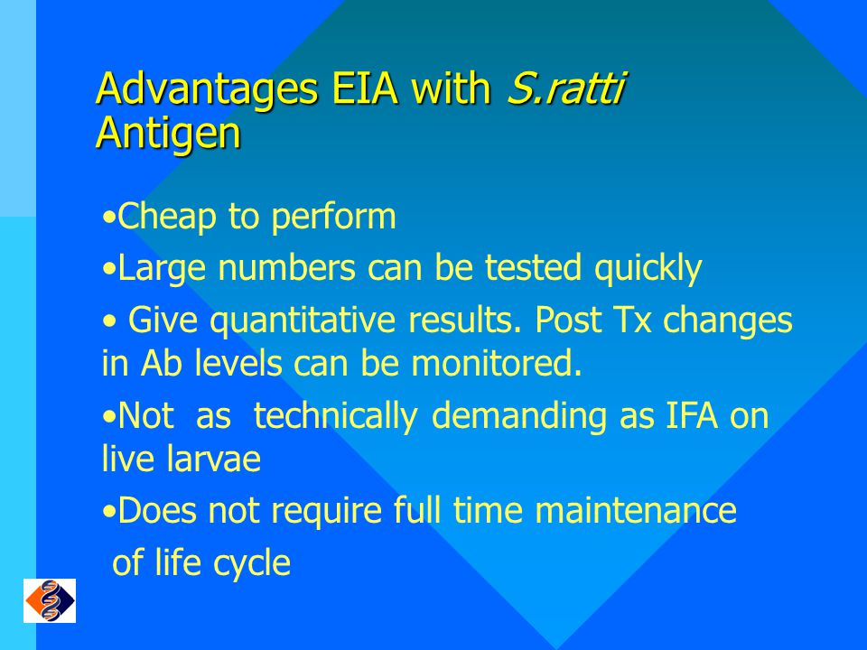 Advantages EIA with S.ratti Antigen