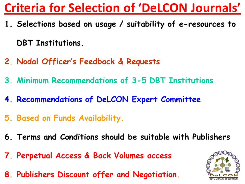 Criteria for Selection of 'DeLCON Journals'