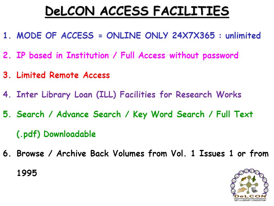 DeLCON ACCESS FACILITIES