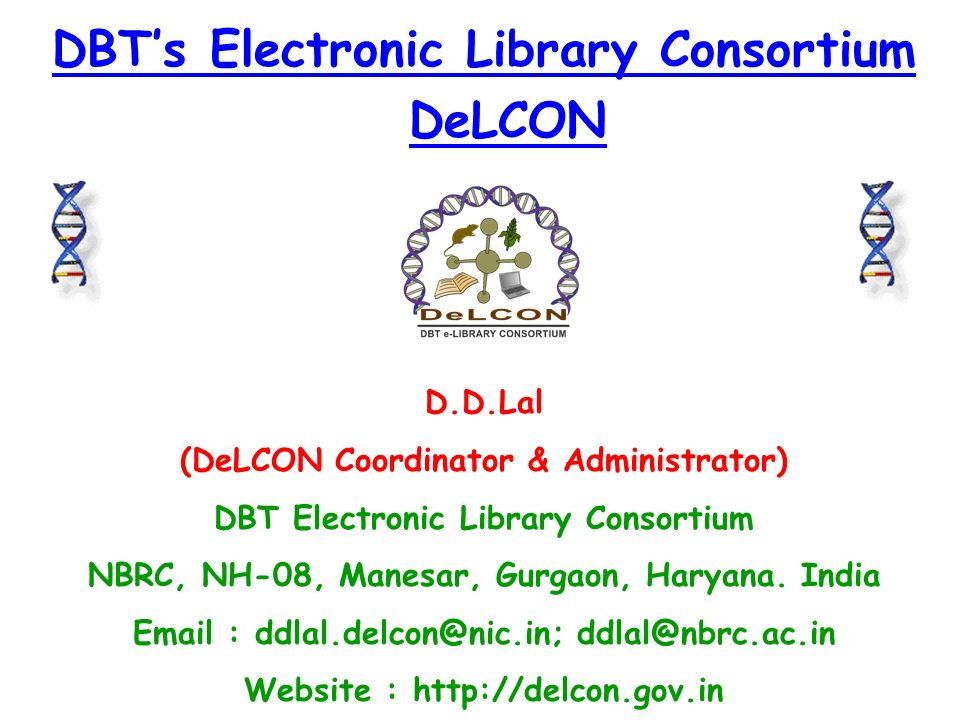 DBT's Electronic Library Consortium DeLCON