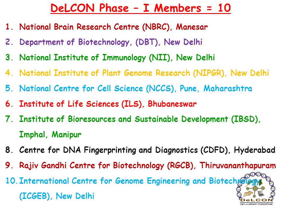 DeLCON Phase – I Members = 10