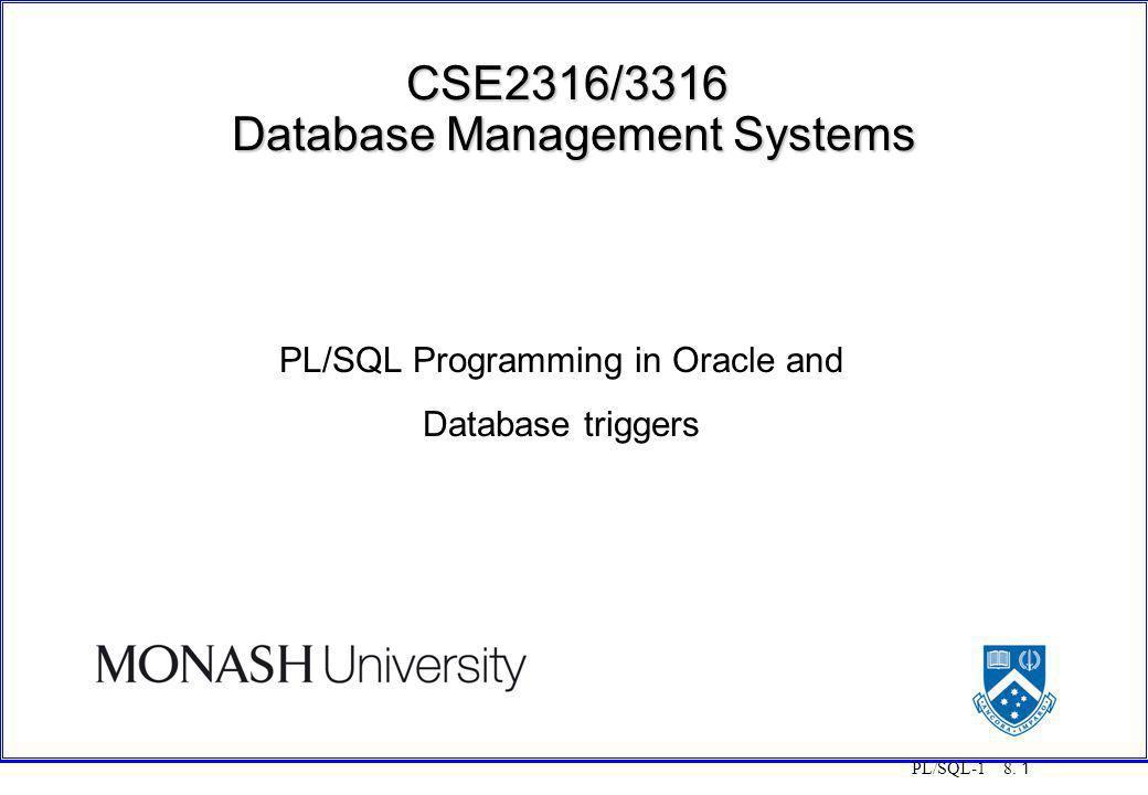 CSE2316/3316 Database Management Systems