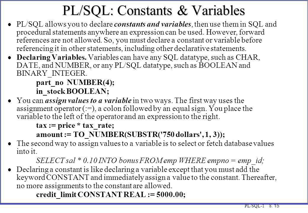 PL/SQL: Constants & Variables