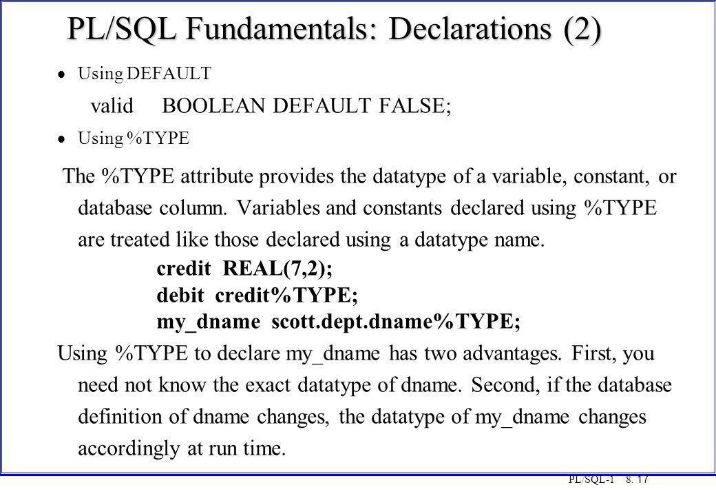 PL/SQL Fundamentals: Declarations (2)
