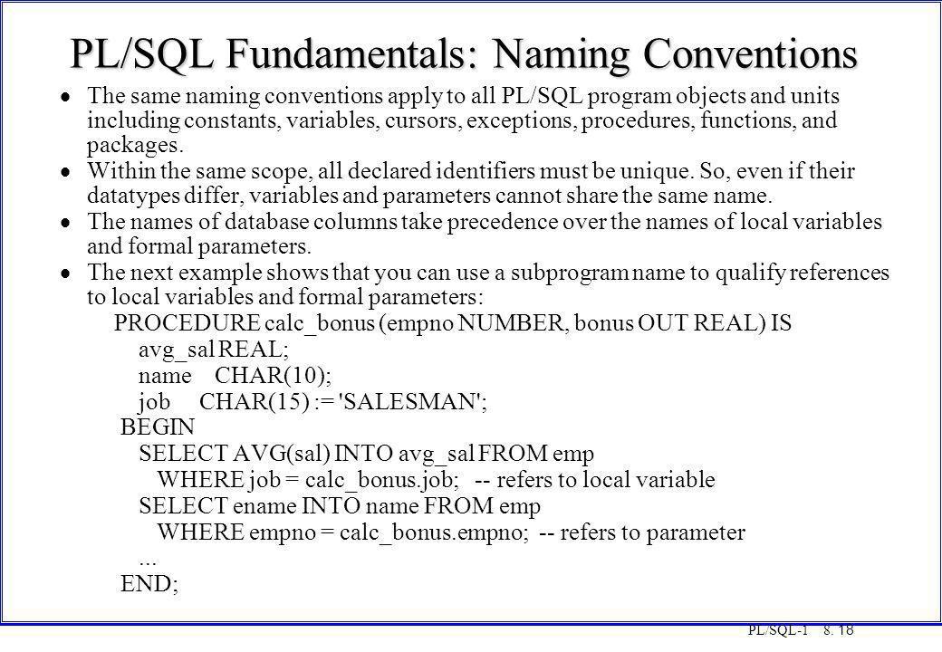 PL/SQL Fundamentals: Naming Conventions