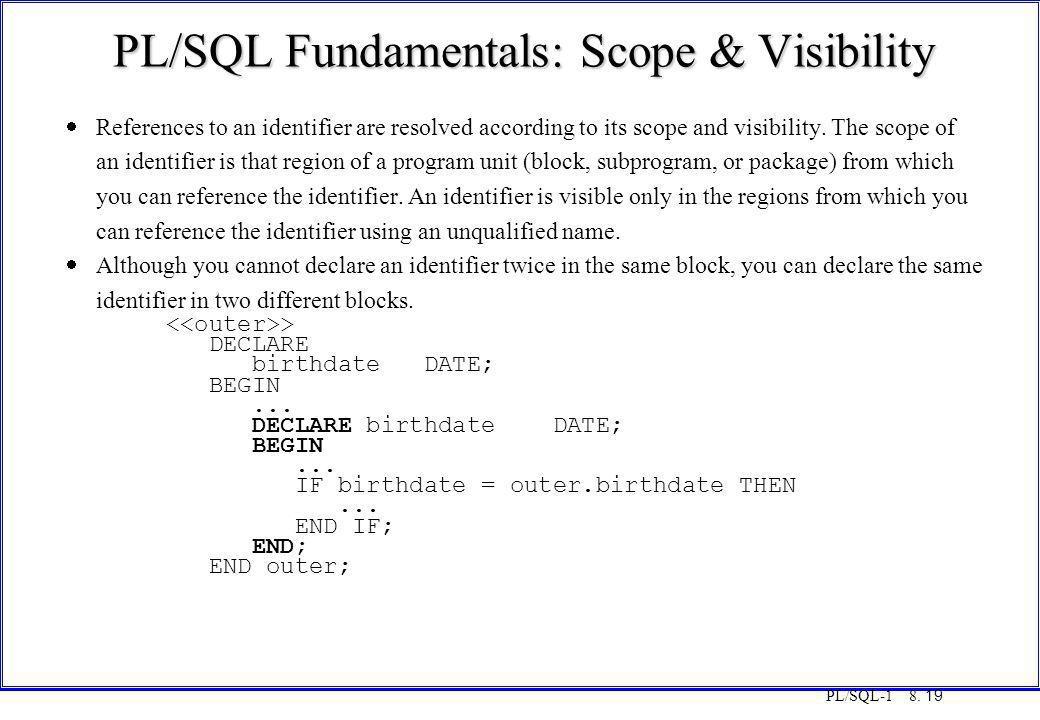 PL/SQL Fundamentals: Scope & Visibility