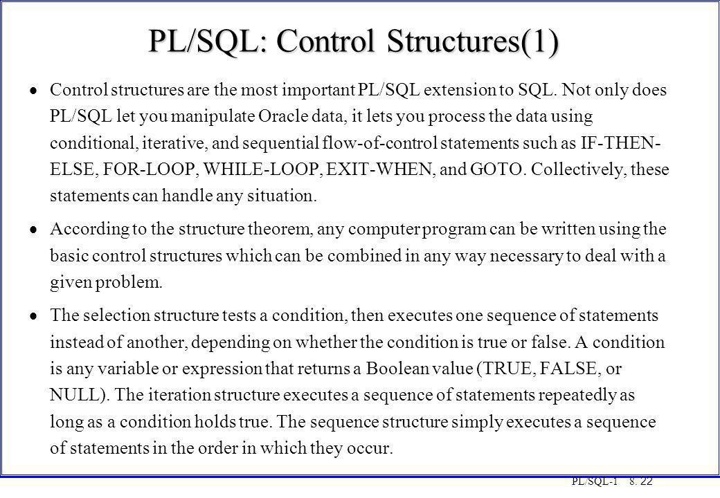 PL/SQL: Control Structures(1)