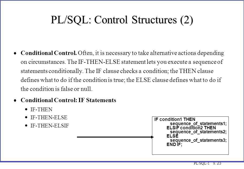 PL/SQL: Control Structures (2)