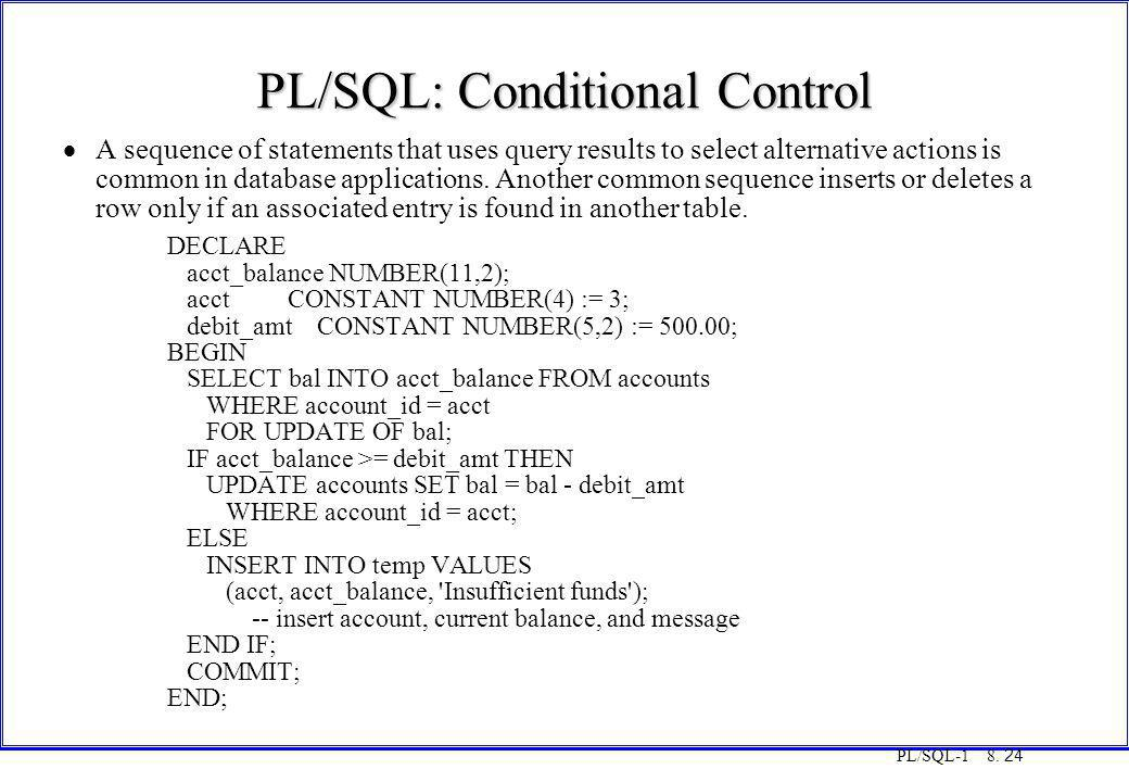 PL/SQL: Conditional Control