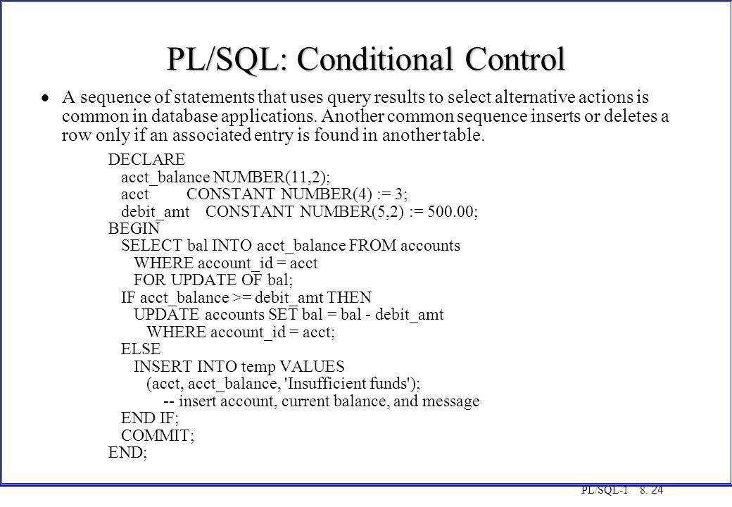 PL/SQL: Conditional Control
