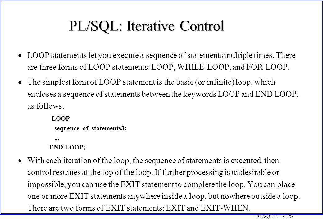 PL/SQL: Iterative Control