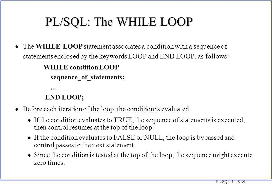 COT3000 PL/SQL PL/SQL: The WHILE LOOP. Monday, 25 August