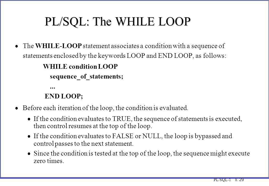 COT3000 PL/SQL PL/SQL: The WHILE LOOP. Monday, 25 August 1997.