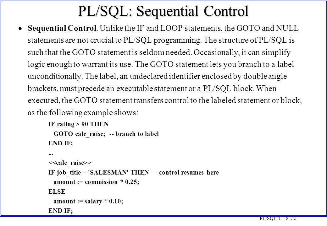 PL/SQL: Sequential Control